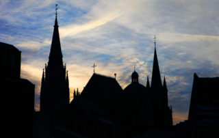 silhouette Aachen cathedral